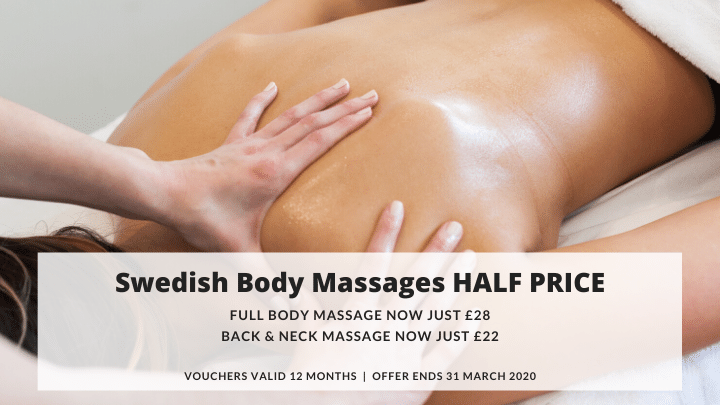 Swedish Body Massages half price at Riverhills for March 2020